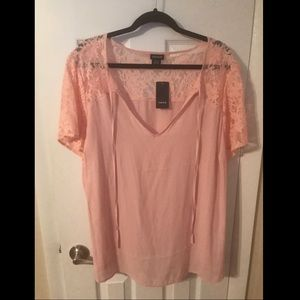 NWT blush pink blouse with lace sleeves 2X